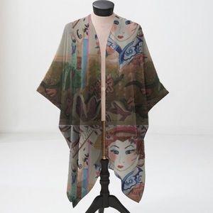 Sheer Japanese Geisha Kimono Style Wrap